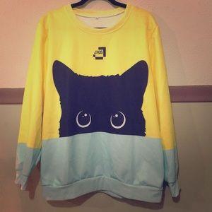 Yellow and sky blue cat sweatshirt